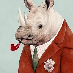 """""""Rhino"""" art by AnimalCrew features a portrait of a rhinoceros wearing a suit and smoking a pipe. #fineart #animalart #illustration #illustrationart #redbubble"""