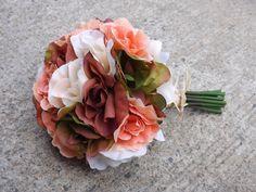 Rose Wedding Bouquet Rustic Bride Fall Wedding BUDGET Bouquet. $32.00, via Etsy.