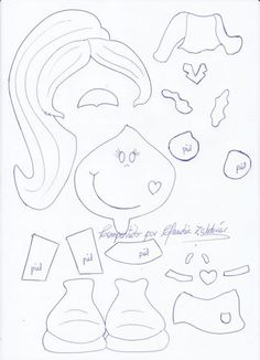 Fofucha Plana moldes 2 Crafts To Sell, Diy And Crafts, Crafts For Kids, Arts And Crafts, Paper Piecing Patterns, Felt Patterns, Felt Dolls, Paper Dolls, Foam Crafts