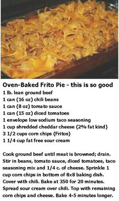 Getting hungry at meals … To fill this feeling of intense hunger, we can be tempted to eat anything that comes to hand. In addition, getting hungry at meals can lead us to eat faster, which also means eating beyond… Continue Reading → Frito Pie, Frito Chili, Taco Pie, Easy Casserole Recipes, Casserole Dishes, Taco Bake Casserole, Hotdish Recipes, Good Food, Yummy Food