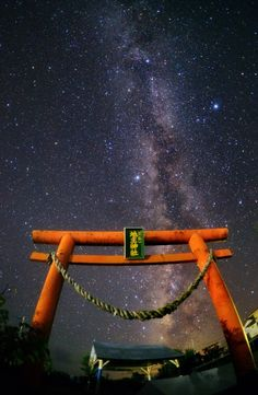 http://www.greeneratravel.com/ Summer Triangle and the Milky Way and Torii of Shrine, Japan
