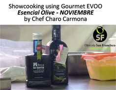 2 fabulous #evoos from #Spain #Andalucia used by #chef #charocarmona during #aovesol 2015 for the preparation of 1 typical dish from Malaga area #porra de naranja & a sweet legacy of Arab cuisine and culture #almojabana. DE-LI-CIOUS! Olive oils used: #EsencialOlive #Noviembre #cosechatemprana #hearly harvest by #OleicolaSanFrancisco. And #FincalaTorre