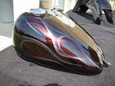 classic double flames, candy apple red and sparkle silver job Harley Davidson Breakout Custom, Classic Harley Davidson, Harley Davidson Chopper, Harley Davidson Street Glide, Harley Davidson Motorcycles, Custom Harleys, Custom Bikes, Custom Choppers, Custom Bobber