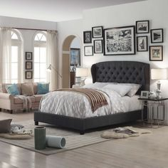 harper upholstered tufted tall bed headboard faux fur