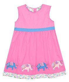Loving this Pink Elephant Dress - Infant, Toddler & Girls on #zulily! #zulilyfinds
