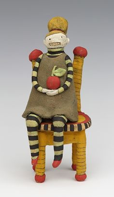 clay ceramic sculpture chair by sara swink