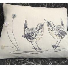 Cushion - Birds Grey White -Original Design - Hand and Free Machine Embroidery £24.95