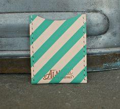 Leather Card Case / Wallet - Teal. $35.00, via Etsy.