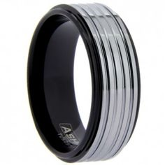 Wholesale Tungsten Ring. Style WTG9970. Unique two-tone tungsten carved band with a high polished finish. AshMil is a trademark of WildGiraffe Wholesale Jewelry Company.