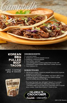 Korean BBQ Pulled Beef Tacos - Melt-in-your-mouth pulled beef that can't be beat! Campbell's Slow Cooker Sauces, Slow Cooker Bbq, Slow Cooker Recipes, Crockpot Recipes, Cooking Recipes, Crockpot Dishes, Crock Pot Cooking, Pork Dishes, Sopa Crock Pot