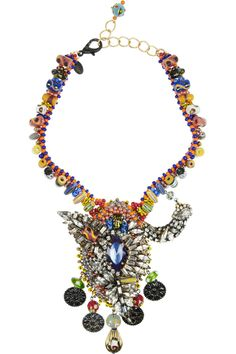 Erickson Beamon|Fashion Tribe gold-plated Swarovski crystal necklace|NET-A-PORTER.COM  Handmade in New York, Erickson Beamon's rainbow-hued 'Fashion Tribe' necklace is crafted from gold-plated brass and is adorned with a multitude of hand-painted Swarovski crystals and silver-plated coins. Wear it against a simple white tee or neutral sweater.