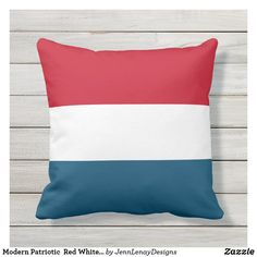 Modern Patriotic  Red White Blue Striped Outdoor Pillow Patriotic Decorations, Outdoor Throw Pillows, Pillow Set, Dog Design, Red White Blue, Blue Stripes, Favorite Color, Modern Design, Outdoor Decor