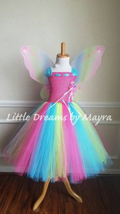 Affordable rainbow butterfly tutu dress with wings, wand and hairclip, Princess fairy butterfly costume size newborn to Rainbow Tutu, Rainbow Butterfly, Butterfly Dress, Fairy Makeup, Mermaid Makeup, Makeup Art, Costume Papillon, Tutu Costumes, Fairy Costumes