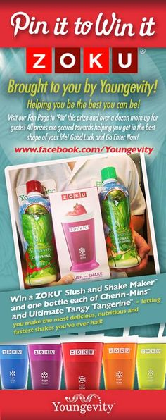 """""""PIN IT TO WIN IT!"""" A Zoku Instant Slush and Shake Maker by Williams and Sonoma! Plus a bottle of CheriMins and Original Liquid Tangy Tangerine by Youngevity to make your first Slushies with!"""
