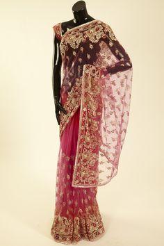 net / tule fuschia pink saree with blouse