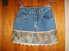 This pair of jeans has been recycled into a short skirt, measuring 16 from natural waist to bottom edge of skirt. These jeans have a PEPE label and Lace Jeans, Denim And Lace, Old Jeans, Lace Shorts, Denim Skirt, Sewing Clothes, Diy Clothes, Clothes For Women, Camo