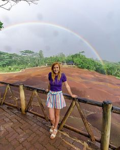 Rain can spoil anyone's plans. However, in this case it actually created a beautiful rainbow! 🌈 What's a better photo than wearing rainbow shorts at the Seven Colored Earths with a rainbow in the background? Fiji Islands, Cook Islands, Stay In A Treehouse, Pink Pigeon, Airstream Land Yacht, Mauritius Travel, Romantic Getaway, Romantic Travel, Sands Resort