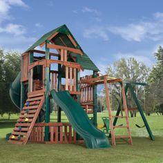 swingset plan turbo slide | Windward Ready-to-Assemble Wooden Play Set Kit | Swing-N-Slide