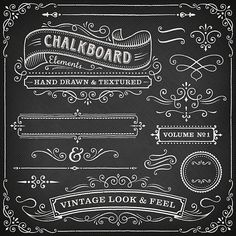 Chalkboard ornate design elements vector art illustration