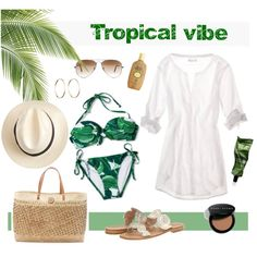 Tropical Vibe by coastal-style on Polyvore featuring American Eagle Outfitters, Xhilaration, Jack Rogers, Repossi, Whiteley, Ray-Ban, Bobbi Brown Cosmetics, Aesop and Sun Bum