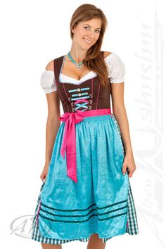 Cute turquoise dirndl - mid-length