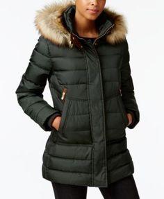 Vince Camuto Faux-Fur-Trim Hooded Puffer Coat | macys.com