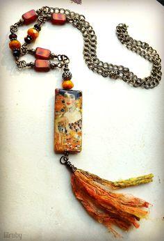 Pendant tassel necklace with Klimt print decoupage bead by lilruby
