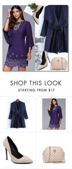 """Rhinestone Embellished Dress & Coat"" by andrea2andare ❤ liked on Polyvore"