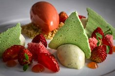 White Chocolate Panna Cotta, Wild Strawberry & Basil Meringue