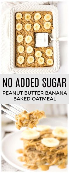 Breakfast doesn't get much easier than this Peanut Butter Banana Baked Oatmeal! Whip up a batch for a healthy make ahead breakfast! Healthy Sweets, Healthy Breakfast Recipes, Healthy Baking, Snack Recipes, Cooking Recipes, Healthy Recipes, Dessert Recipes, Oatmeal Breakfast Recipes, Healthy Breakfasts