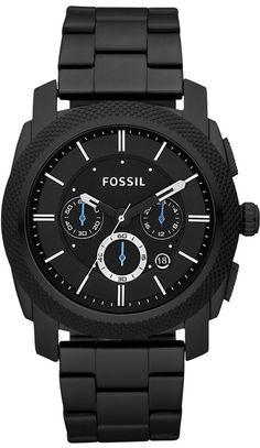 Fossil Men's #FS4552 Black Stainless Steel Bracelet Black Analog Dial Chronograph Watch!!