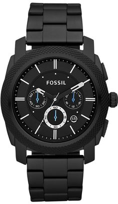 Fossil Men's #FS4552 Black Stainless Steel Bracelet Black Analog Dial Chronograph Watch