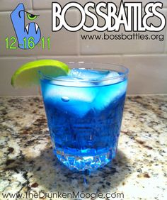 Boss Battles Cocktail Ingredients: 3/4 oz blue curacao 1 1/2 oz blueberry vodka Around 3 oz Sprite (fill glass) 1 lime wedge Directions: Mix alcoholic ingredients and pour in a rocks glass over ice....