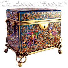 Antique Bohemian Moser Blue Art Glass Raised Enamel Jewelry Box Casket