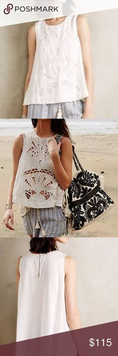 Anthropologie Isla Cutwork Tank HD in Paris brand white lazer cut + embroidered blouse. Features front panel lining, slightly high-low fit, and button loop in the back. Material is very soft, lightweight and flowy. Anthropologie Tops Blouses