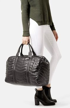 Topshop Quilted Leather Luggage Bag available at #Nordstrom