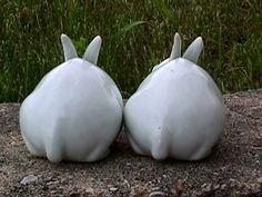 White Porcelain Pair Bunny Rabbit Figurines E   eBay