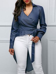 Fashion pure color long sleeve frenulum shirts – ebuytide blouses for women chic blouses for women casual blouses outfit cute blouses blouses for women work business casual Trendy Tops For Women, Blouses For Women, Tankini, Casual Skirt Outfits, Stylish Dresses, Cute Blouses, Formal Blouses, Women's Blouses, Ladies Dress Design