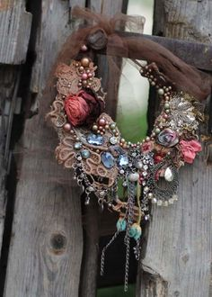 RESERVED-- Twilight Rose-- bohemian, shabby chic bold statement necklace from antique and vintage textiles, hand beaded