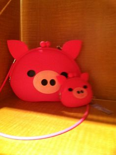 Pig purse and matching coin purse