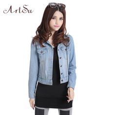 Check current price Artsu New 2017 Casual Women Clothing Denim Jackets Cool Jeans Coat Classical Jacket Female Jackets S-4XL Plus Size ASCO10017 just only $17.70 with free shipping worldwide  #womanjacketscoats Plese click on picture to see our special price for you