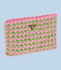 Prada, Crocheted Raffia Clutch in Grass Green and Pink - vintage patterns exist that will make exactly this bag. http://yourbagyourlife.com/