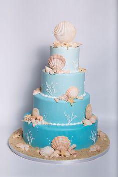 seashell ocean wedding cake