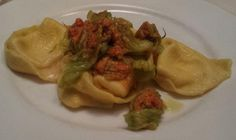 Twitter / @eatlikeagirl: Last supper in Bologna! Tortelloni stuffed with stracchino & squaquerone, with fried courgette flowers