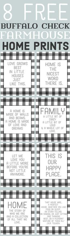 Free Farmhouse Printables-Buffalo Check Family and home quotes-www.themountainviewcottage.net.jpg