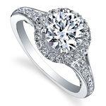MAPLE LEAF DIAMONDS TIDES OF LOVE 18CT WHITE GOLD DIAMOND HALO ENGAGEMENT RING