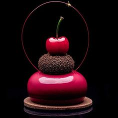 Elite - The chocolate & Chili and Cherry Petit gateau by Beaux Desserts, Small Desserts, Fancy Desserts, Gourmet Desserts, Plated Desserts, Chocolate Lovers, Chocolate Desserts, Chocolate Decorations, Chocolate Chili