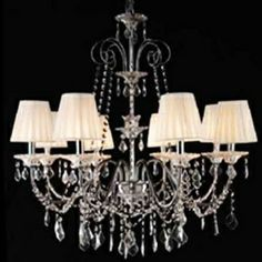 Chinese Iron Chrome 8-light K9 Crystal Chandelier With Lamp Shade (0835-AD88105)