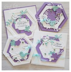 Diy Birthday, Birthday Cards, Hexagon Cards, Stampin Up Paper Pumpkin, Love Wishes, Making Greeting Cards, Shaped Cards, Bird Cards, Card Sketches