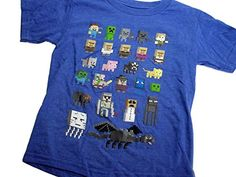 Minecraft Blue Pixelated Characters Sprites Boys Graphic Tshirt XS 45 * Click on the image for additional details.Note:It is affiliate link to Amazon.